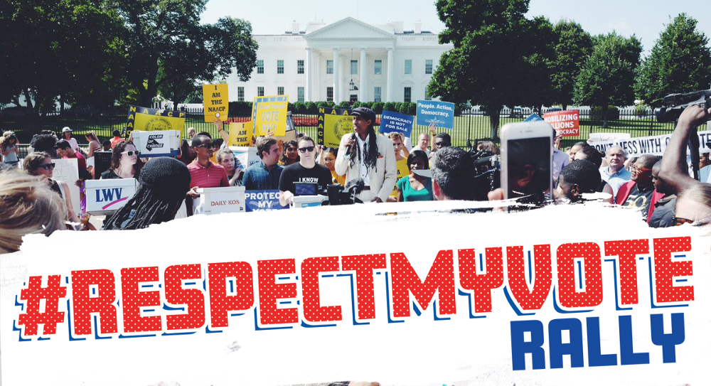 "#RespectMyVote Rally protests Trump's ""Voter Suppression Commission"""